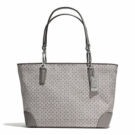MADISON OP ART NEEDLEPOINT EAST/WEST TOTE - COACH F33372 - SILVER/LIGHT GREY