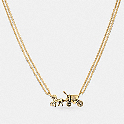 COACH F33375 Horse And Carriage Double Chain Necklace GOLD