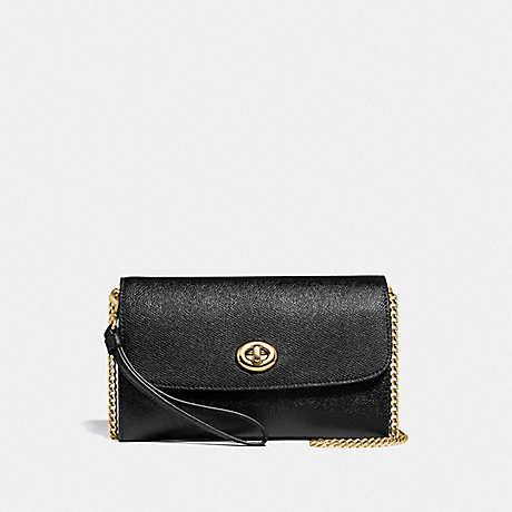 COACH F33390 CHAIN CROSSBODY BLACK/LIGHT-GOLD