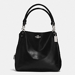 COLETTE LEATHER HOBO - f33393 - SILVER/BLACK