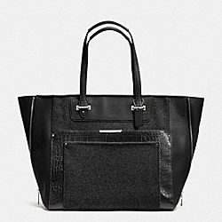 COACH F33395 Taylor Wool Croc Large Fashion Tote  GUNMETAL/BLACK/CHARCOAL