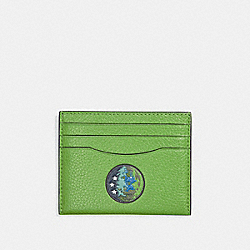 COACH F33402 Slim Card Case With Earth Motif NEON GREEN