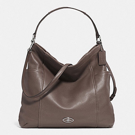 COACH F33436 GALLERY HOBO IN LEATHER -SILVER/MINK