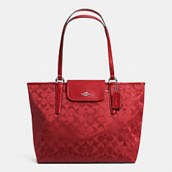 COACH F33475 - WARD TOTE IN SIGNATURE NYLON  SILVER/RED CURRANT