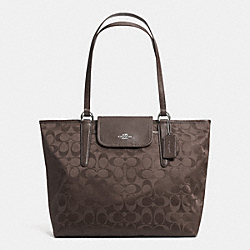 COACH F33475 - WARD TOTE IN SIGNATURE  SILVER/MINK