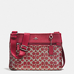 COACH F33479 Spencer Crossbody In Signature  SILVER/RED/RED