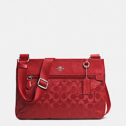 COACH F33483 Spencer Crossbody In Signature Nylon  SILVER/RED CURRANT