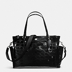 COACH F33491 - PEYTON LINEAR C EMBOSSED PATENT MULTIFUNCTION TOTE SILVER/BLACK