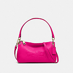 COACH F33521 - EMBOSSED HORSE AND CARRIAGE CHARLEY CROSSBODY IN PEBBLE LEATHER  LIGHT GOLD/PINK RUBY
