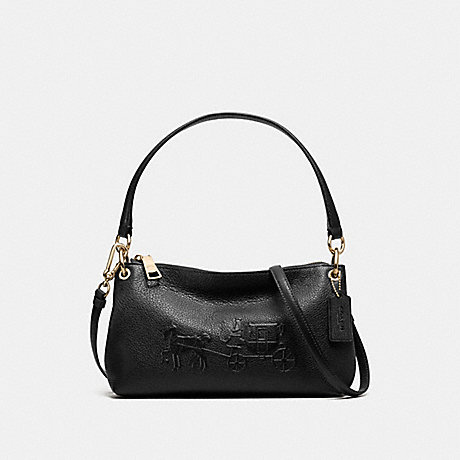 512e23ad30 COACH f33521 EMBOSSED HORSE AND CARRIAGE CHARLEY CROSSBODY IN PEBBLE  LEATHER LIGHT GOLD BLACK