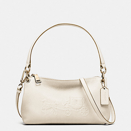 COACH f33521 EMBOSSED HORSE AND CARRIAGE CHARLEY CROSSBODY IN PEBBLE LEATHER CHALK