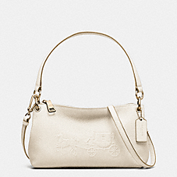 EMBOSSED HORSE AND CARRIAGE CHARLEY CROSSBODY IN PEBBLE LEATHER - f33521 - CHALK