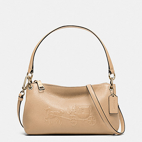 COACH f33521 EMBOSSED HORSE AND CARRIAGE CHARLEY CROSSBODY IN PEBBLE LEATHER NUDE