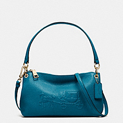 COACH F33521 Embossed Horse And Carriage Charley Crossbody In Pebble Leather  LIGHT GOLD/TEAL