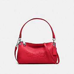 EMBOSSED HORSE AND CARRIAGE CHARLEY CROSSBODY IN PEBBLE LEATHER - f33521 - SILVER/TRUE RED