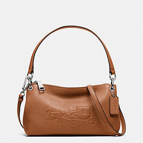 COACH f33521 EMBOSSED HORSE AND CARRIAGE CHARLEY CROSSBODY IN PEBBLE LEATHER SILVER/SADDLE