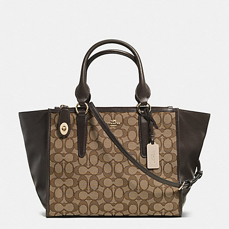 COACH F33524 CROSBY CARRYALL IN SIGNATURE LIGHT-GOLD/KHAKI/BROWN