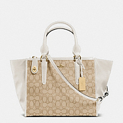 CROSBY CARRYALL IN SIGNATURE - f33524 - LIGHT GOLD/LIGHT KHAKI/CHALK