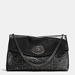 MINI STUDS LARGE CLUTCH IN LEATHER - f33528 -  ANTIQUE NICKEL/BLACK