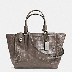 COACH F33529 - CROSBY CARRYALL IN CROC EMBOSSED LEATHER  SILVER/MINK
