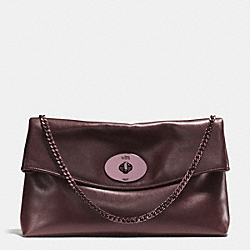 LARGE TURNLOCK CLUTCH IN LEATHER - f33532 -  VPOXB