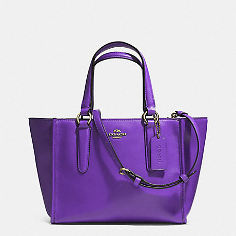 COACH f33537 CROSBY MINI CARRYALL IN SMOOTH LEATHER  LIGHT GOLD/VIOLET