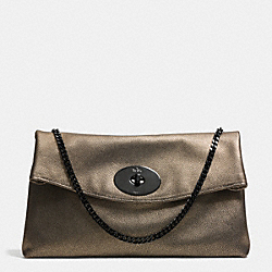 COACH LARGE TURNLOCK CLUTCH IN METALLIC LEATHER - VA/BRASS - F33538