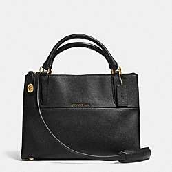 COACH F33539 The Small Turnlock Borough Bag In Textured  Embossed Leather  LIGHT GOLD/BLACK