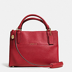 COACH F33539 The Small Turnlock Borough Bag In Textured  Embossed Leather  LIGHT GOLD/RED CURRANT