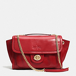 COACH F33544 - LARGE RANGER FLAP CROSSBODY IN LEATHER  LIGHT GOLD/RED CURRANT