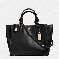 CROSBY CARRYALL IN LEATHER - f33545 - LIGHT GOLD/BLACK