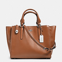 CROSBY CARRYALL IN LEATHER - f33545 - SILVER/SADDLE