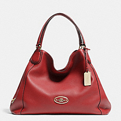 COACH F33547 Edie Shoulder Bag In Leather LIGHT GOLD/RED CURRANT