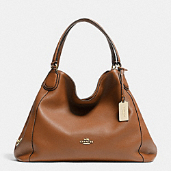 COACH F33547 Edie Shoulder Bag In Leather LIGHT GOLD/SADDLE
