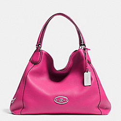 COACH F33547 - EDIE SHOULDER BAG IN LEATHER  SILVER/FUCHSIA