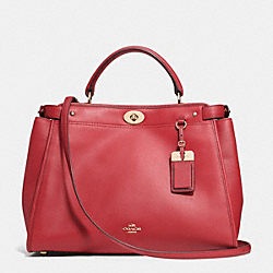 COACH F33549 Gramercy Satchel In Leather LIGHT GOLD/RED CURRANT