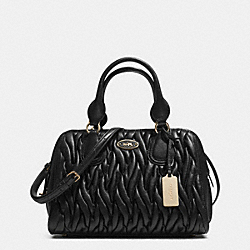 COACH F33550 Small Satchel In Gathered Leather  LIGHT GOLD/BLACK