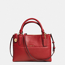 COACH F33562 Turnlock Borough Bag In Pebble Leather LIGHT GOLD/RED CURRANT