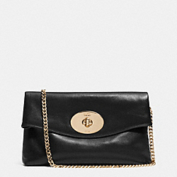 TURNLOCK CLUTCH IN LEATHER - f33568 -  LIGHT GOLD/BLACK