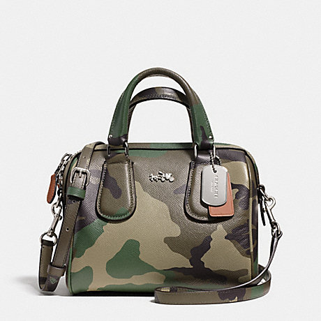 COACH f33591 MINI SURREY SATCHEL IN CAMO PRINT CROSSGRAIN LEATHER<br>蔻驰小萨里包迷彩印皮女 银色,绿色多