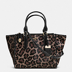 CROSBY CARRYALL IN PRINTED HAIRCALF - f33610 - LIGHT GOLD/BROWN MULTI
