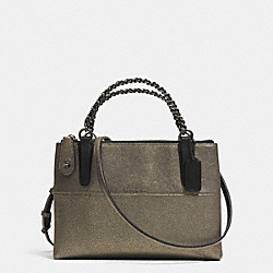 COACH F33619 - MINI TURNLOCK BOROUGH BAG WITH CHAIN IN METALLIC LEATHER  BNBRS