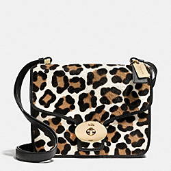 PAGE SHOULDER BAG IN PRINTED HAIRCALF - f33636 -  LIGHT GOLD/WHITE MULTICOLOR