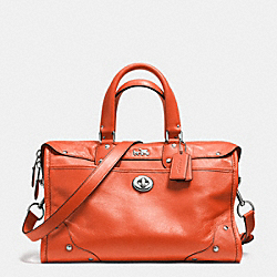 COACH F33689 - RHYDER SATCHEL IN CROSSGRAIN LEATHER  SILVER/CORAL
