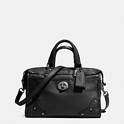COACH F33690 Rhyder 24 Satchel In Leather ANTIQUE NICKEL/BLACK