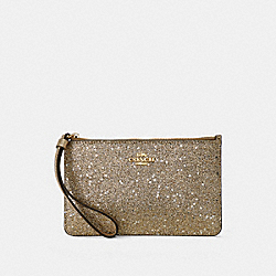 COACH F33702 Small Wristlet With Star Glitter Print CHAMPAGNE GLITTER /IMITATION GOLD