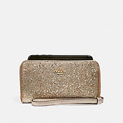 PHONE WALLET IN STAR GLITTER PRINT - f33703 - champagne glitter /imitation gold
