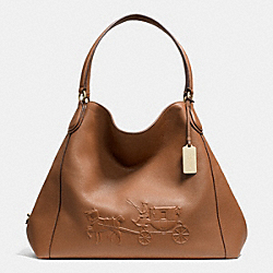 COACH F33727 Embossed Horse And Carriage Large Edie Shoulder Bag In Pebble Leather LIGHT GOLD/SADDLE