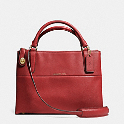 COACH F33732 Small Turnlock Borough Bag In Pebbled Leather  LIGHT GOLD/RED CURRANT