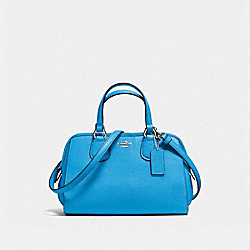 MINI NOLITA SATCHEL IN POLISHED PEBBLE LEATHER - f33735 - SILVER/AZURE